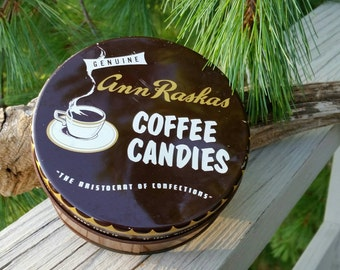 Ann Raskas Coffee Candies Tin Vintage 1960s