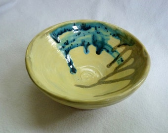 Light Green Bowl with Blue Accents