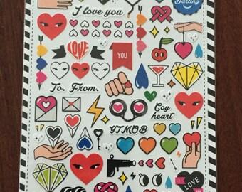 Kawaii graphic love stickers