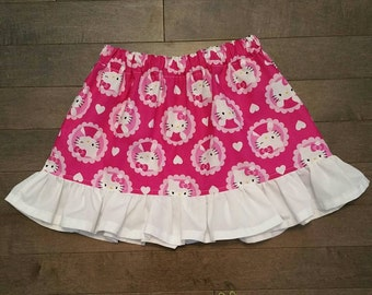 Pink and White Hello Kitty Skirt and Mini Bow