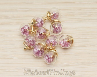 PDT1460-01-G // Glossy Gold Plated Lavender Cubic Zirconia 8mm Glass Ball Mini Terrarium Pendant, 2 Pc