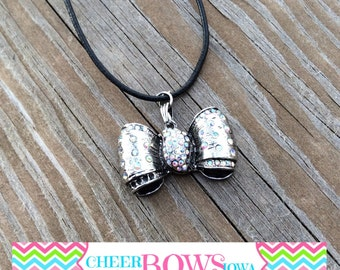 Bow Necklace - Silver with Rhinestones