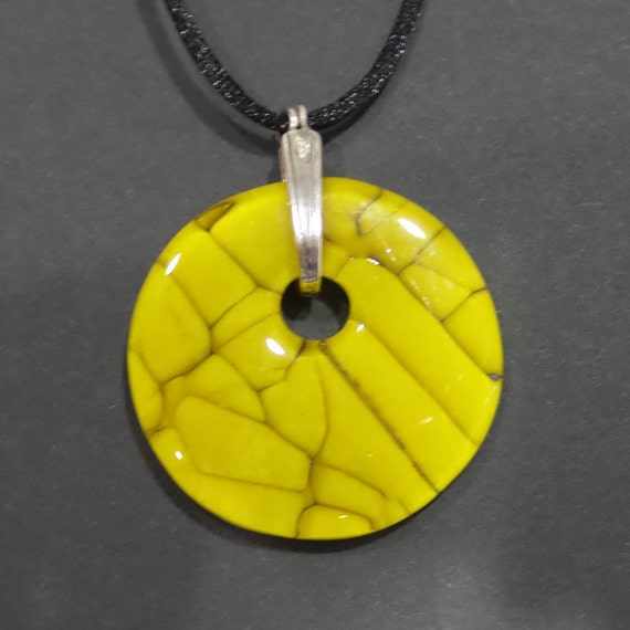 mustard yellow necklace autumn fashion fused glass jewelry
