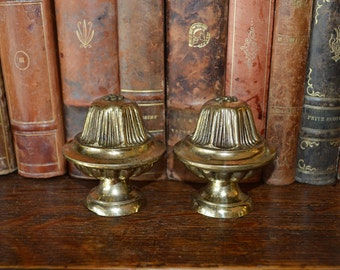 Antique Pair French Drapery Finials Heavy Brass Decorative Drapery or Post Hardware