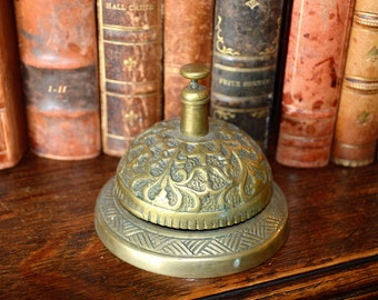 Antique French Heavy Brass Bell Desk Service Hotel