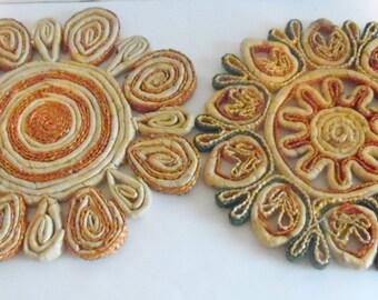 Pair of vintage, woven paper trivets