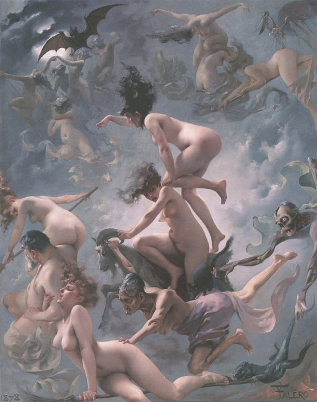 nude witches Witches Going to their Sabbath, 1878, Luis Ricardo Falero, Nudes, Goat,