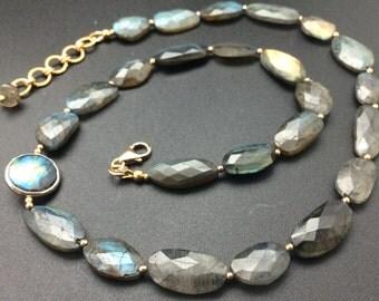Labradorite Beaded Necklace, Gemstone Beaded Necklace, 14k Gold Fill Necklace, 18 inch Necklace, Flashy Necklace, Necklaces under 125