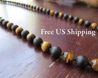 Men's Tigereye and Matte Onyx Necklace, Beaded Necklace, Men's Necklace, Beaded Tigereye, Long Necklace, Gift for Men, Layering Necklace
