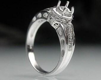 0.50 Cttw Diamonds Semi Mount Engagement Ring in 14K White Gold