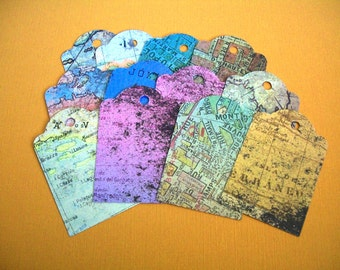 Twelve Map Gift Tags - Blank Tags, Paper Tags. Party Tags, Birthday Tags