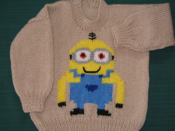 Knitting Pattern For Minion Jumper : Hand Knitted Minion Jumper chest 23/58cm
