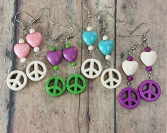 Peace Sign Earrings, Free Shipping