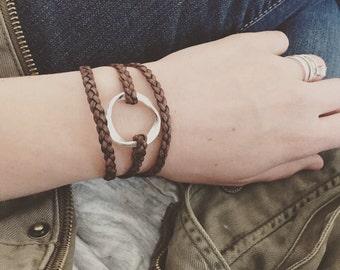 Twisted ring braided wrap bracelet