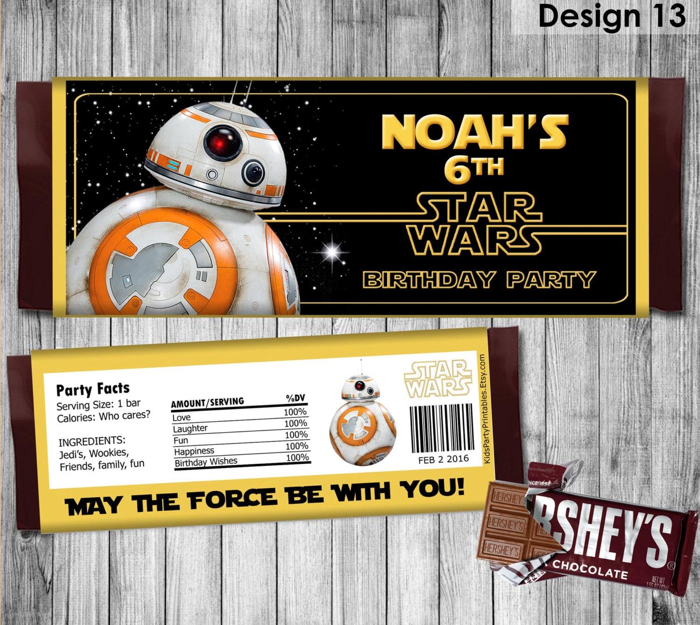 Star Wars Candy Wrapper PRINTABLE BB8 Star Wars Candy Bar