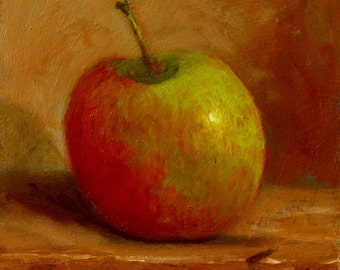 Oil On Panel - 'Apple' Still Life Daily Painting Original Art