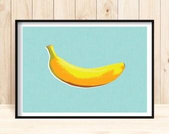 Pop Art Print, Banana Prints, Digital Download Pop Art, Modern Art Prints, Yellow Banana Wall Art, Retro Wall Art, Kitchen Prints, Food Art