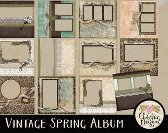Vintage Digital Scrapbook Album - Vintage Spring Quick Page Album - 12 Pre-Made Vintage Style Scrapbook Pages, Pre-Made Digital Album