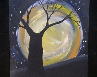 Moon tree painting