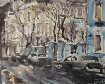 Winter evening - original watercolor