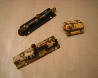 3 vintage door locks-security locks-hard ware-salvage-replacement-rustic-chippy-