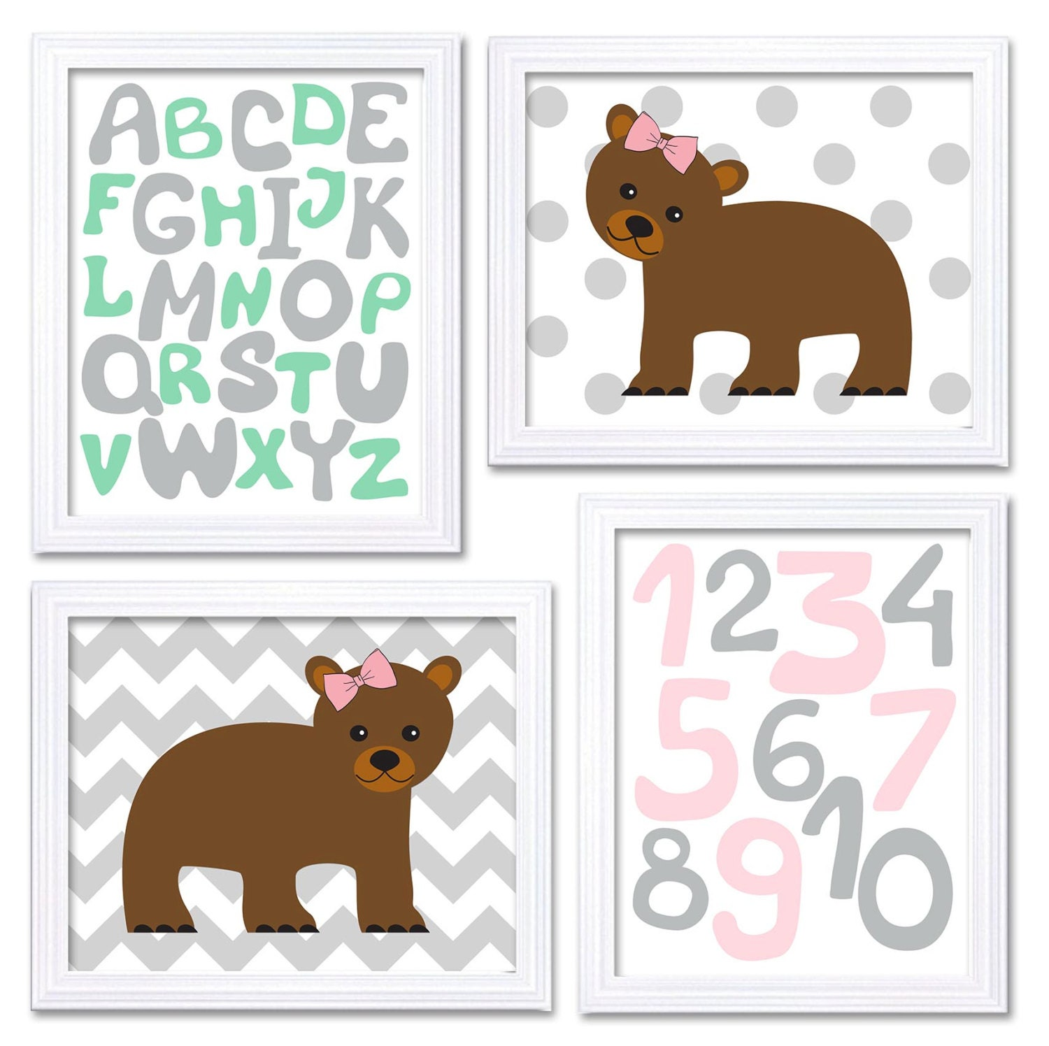 Bear Nursery Art Baby Wall Decor Alphabet ABC 123 Numbers Set of 4 Prints Mint Green Pink Grey Child