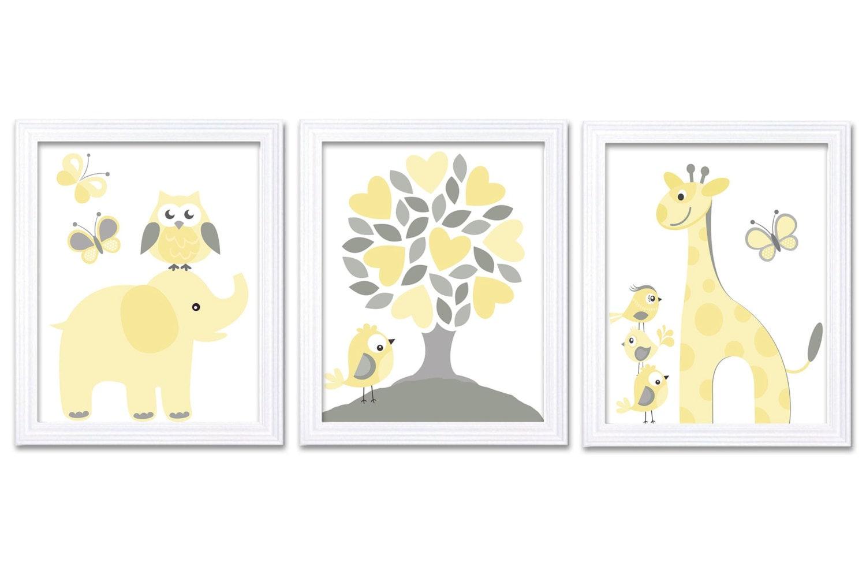 Nursery Wall Art Yellow Grey Nursery Art Print Set of 3 Elephant Owl Bird Tree Giraffe Baby Nursery