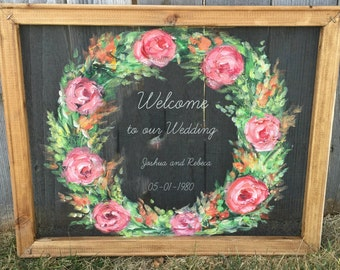 wedding decor, hand painted ,wedding sign,window screen, welcome sign,indoor or outdoor, screen, screen art