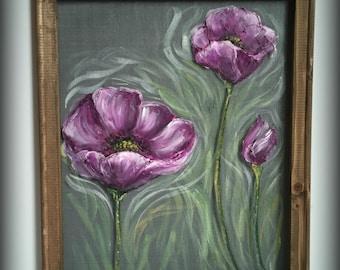 Purple Poppies,Purple Flower,Window Screen art