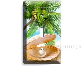 See shell with perl on a paradise palm beach  and golden sand single light switch cover wall plates bedroom living room art decor decoration
