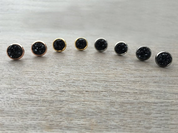 Black Druzy Studs // Silver, Gunmetal, Gold or Rose Gold // Bridesmaid Gift // Gifts for Her // Wedding // Stocking Stuffer