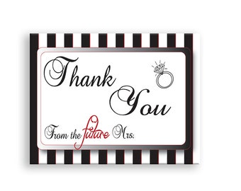 Bridal Shower Thank You Printable  Wedding Shower Thank You Card
