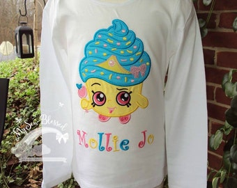 Shopkins Character Appliqued / Designed Personalized Garment / Little Girl's Shirt