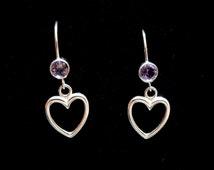 Amethyst and silver heart earrings, Sterling silver amethyst earrings, Amethyst jewellery, Amethyst jewelry, February birthstone earrings
