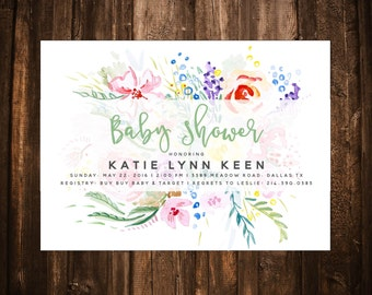 Sweet Floral Baby Shower Invitation; Watercolor; Printable or set of 10