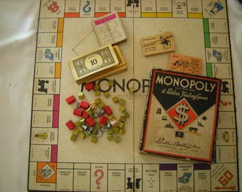 vintage monopoly game-original board and box-wooden houses/hotels-family night-game night-retro-