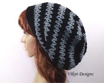 Crochet Hat, Crochet Slouchy Hat, Women Hat, Black and Gray Womens Knit Beanie by Vikni Designs