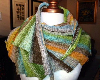 Greens and Oranges and Browns Stairstep Scarf