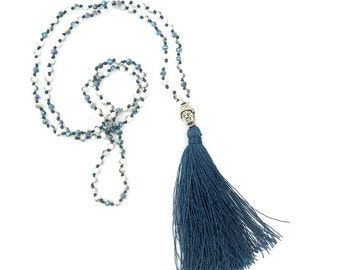 Blue bohemian tassel Buddha handmade crystal necklace