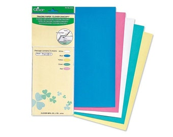 "Clover Japan Chacopy Tracing Paper - Sewing Transfer paper - Carbon paper - Red, green, Blue, White, Yellow 5 Sheets 10"" x 12"" 30cm x 25cm"