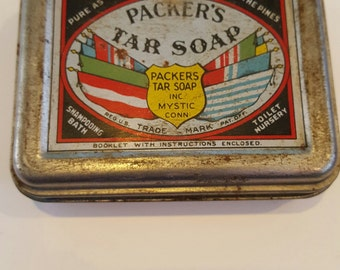 Vintage Packer Tar Soap tin, Mystic CT, Pure as the pines, graphic tin, advertising