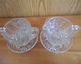 Vintage Clear Glass Sugar and Creamer Set, Anchor Hocking, Stars and Bars