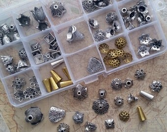 Bead Caps * Bead Cones * Tibetan Style Metal * Bead Box Set / Kit 023 * 104 pieces * Antique Silver and Gold