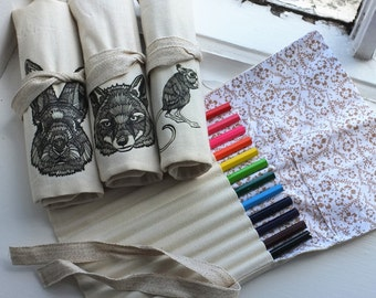 Handmade Pencil Case Wrap + coloured pencils