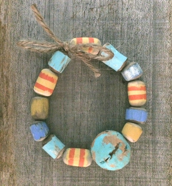 Cork Beads: Painted Striped Driftwood Beads Painted Disc-shaped Cork