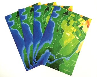 Beacon Postcard Set, Beacon map, Beacon NY, Hudson Valley, map painting