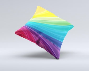 Neon Colored Swirled ink-Fuzed Decorative Throw Pillow