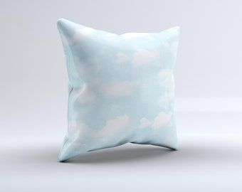 Vintage Cloudy Skies ink-Fuzed Decorative Throw Pillow