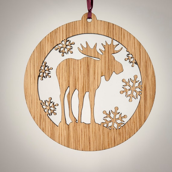 Moose christmas wood ornament woodland animal by ladymaggies