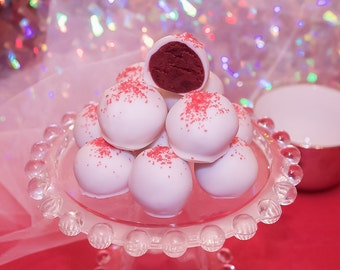 Red Velvet Cake Truffles, White Chocolate Cake Balls,  Red Velvet Desserts